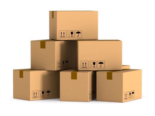 cargo box on white background. Isolated 3D illustration